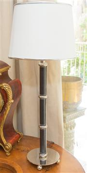Sale 8341A - Lot 79 - A pair of chrome and black leather effect lamps with cream shades, total height 55cm