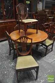 Sale 8359 - Lot 1095 - Set of 6 Hepplewhite Style Chairs incl. 1 Carver with green velvet seats and stretcher base