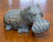 Sale 8402H - Lot 26 - An African stone carving of a Hippo, 20cm.