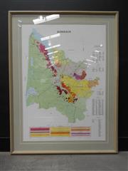 Sale 8454 - Lot 617B - Official Classification of the Wines of Bordeaux Map by Provicarte 1987, framed reprint (110 x 75cm)