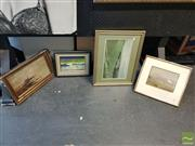 Sale 8552 - Lot 2060 - 4 Framed Works: 2 Rural Scenes, Watercolours, unsigned with 2 Seascapes, Acrylic on Board incl. S.Mann