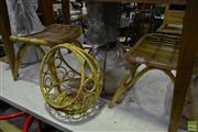 Sale 8566 - Lot 1677 - Pair of Polywicker Stools with Fruit Basket