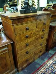 Sale 8653 - Lot 1011 - Victorian Flame Mahogany Chest of Six Drawers, with decorative frieze & plinth base (some veneer losses)