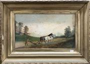 Sale 8682 - Lot 2015 - Artist Unknown - Ploughing, 1903, oil on board, 42 x 62cm (frame size), signed and dated lower right
