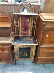 Sale 8774 - Lot 1009 - Victorian Japanese Style Tortoiseshell Cane & Lacquered Hallstand, with arched mirror top & small shelf, above floral lacquer panel...