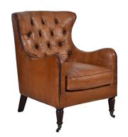 Sale 8912H - Lot 19 - A pair of unique soft top grain leather chairs in a chestnut colour. Brass studs running along arm front through to top. Deep tufted...