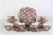 Sale 8923B - Lot 71 - A Royal Winton chintz tea set for six people in the Florence  pattern, a tea pot, cake plate, sandwich plates, sugar bowl, cups and...