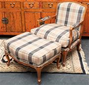 Sale 8942H - Lot 34 - A Louis XV style beech duchess brisee upholstered in a cream tartan fabric, Width of seat 77cm