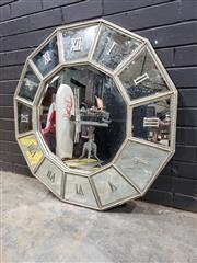 Sale 9017 - Lot 1046 - French Inspired Bevelled Mirror Wall Clock with Beaded Silver Painted Frame (D: 100cm)