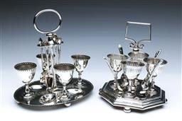 Sale 9098 - Lot 472 - Two suites of Edwardian silverplated breakfast egg service