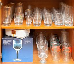 Sale 9164H - Lot 91 - Two shelves of glasswares including mostly tumblers