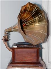 Sale 8048A - Lot 118 - A Reproduction brass horn table top gramophone. 72 (diam) of horn