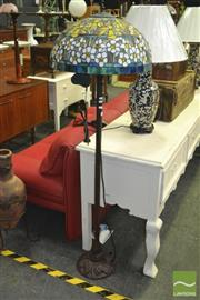 Sale 8312 - Lot 1048 - Leadlight Shade Standard Lamp