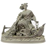 Sale 8342 - Lot 11 - Bronze Figure of a Classical Lady on a Boat