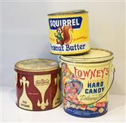 Sale 8450 - Lot 24 - Collection of three unique tins, Squirrel Peanut Butter (Canada), Lowneys Superior Hard Candy (Canada), Dairy King Neapolitan Ice C...