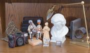 Sale 8486A - Lot 94 - A group of deskwares including ceramic bust of Beethoven, desk tidies, Ben Zion figure, book end, figurines etc, a Pentax Zoom 70, a...