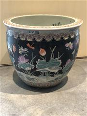 Sale 8815A - Lot 9 - A large Chinese polychrome ceramic fish bowl decorated both externally and internally, H 32, Dia 38cm, Stamp to base