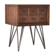 Sale 8957T - Lot 27 - A pair of apothecary mid cemtury style side tables. reclaimed timber, aged metal accent handles and hairpin legs. 65H x 50W x 50D