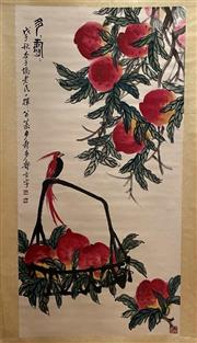 Sale 8980S - Lot 612 - Chinese Scroll of Peaches, Ink and Colour on Paper
