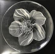 Sale 8963 - Lot 83 - Frosted flower decorated glass dish (Dia30cm) together with a set of three ceramic fruits