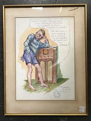 Sale 9024 - Lot 2027 - D P Tozer Story of Lofty and his Pants 1938 watercolour 52 x 40cm (frame) signed and dated lower right