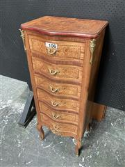 Sale 9068 - Lot 1049 - French Style Tall Chest of Six Drawers, with burr veneers, serpentine front & bras mounts, raised on cabriole legs (h:118 x w:48 x d...