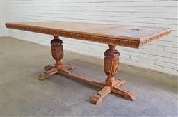 Sale 9126 - Lot 1265 - Carved timber dining table on twin pedestal stretcher base (h:79 w:200 d:100cm)