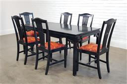 Sale 9174 - Lot 1164 - Painted timber 7 piece dining setting