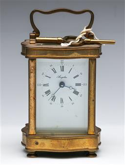 Sale 9175 - Lot 83 - A Vintage French Brass Carriage Clock (H:11.5cm)