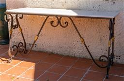 Sale 9248H - Lot 292 - A marble top hand forged wrought iron base console table Width 150cm depth 50 x 77 height