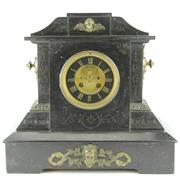 Sale 8332 - Lot 47 - French Black Slate Mantle Clock