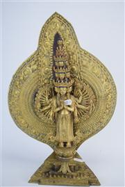 Sale 8381B - Lot 46 - Chinese Gilt Bronze One Hundred Hands Standing Guanyin; H38cm