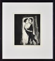 Sale 8401 - Lot 596 - Garry Shead (1942 - ) - Dancing Couple 27.5 x 22.5cm