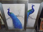 Sale 8437 - Lot 2078 - Pair of framed Decorative Prints Blue Peacocks