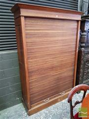 Sale 8485 - Lot 1023 - Possibly French Early 20th Century Oak Office Tambour Front Filing Cabinet, enclosing shelves