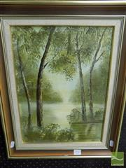 Sale 8522 - Lot 2078 - Jan Neilson - Creek with Trees 39 x 29cm