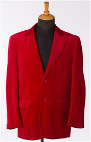 Sale 8550F - Lot 106 - Two Rossini gents velvet evening jackets, in crimson and ivory, size L.