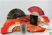 Sale 8546 - Lot 131 - Japanese Silks, Fans And Ceramic Cup