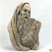 Sale 8648A - Lot 133 - Cast Plaster Bust of Moses Holding the 10 Commandments (H 40cm W 30cm Signed Bergier 67)