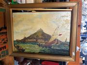 Sale 8682 - Lot 2095 - Artist unknown - Saint Michaels Mount, Cornwall, England, oil on canvas laid on board, 41 x 54cm, unsigned
