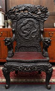 Sale 8942H - Lot 43 - A Japanese Export profusely carved armchair with dragon panel back and arms, Height of back 134cm
