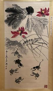 Sale 8951S - Lot 36 - Chinese Lotus Scroll, Ink and Colour on Paper