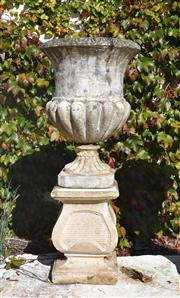 Sale 8972H - Lot 68 - Fine aged composition stone urn on plinth 1.02m Height 41cm Diameter