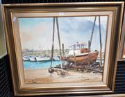 Sale 9019 - Lot 2040 - Fay Joseph On the Slips, Ulladulla 1973 oil on canvas board, 60 x 70cm (frame) signed and dated -