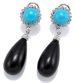 Sale 9083 - Lot 424 - A PAIR OF 18CT WHITE GOLD DIAMOND AND STONE SET EARRINGS; each a reconstituted cabochon turquoise and 18 round brilliant cut diamond...