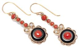 Sale 9124 - Lot 525 - A PAIR OF DECO STYLE STONE SET EARRINGS; each a 9ct gold drop target set with a coral bead and an onyx ring to a line drop of seed p...