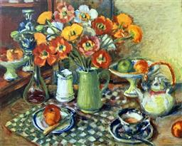 Sale 9142A - Lot 5017 - MARGARET OLLEY (1923 - 2011) - Poppies and Checked Cloth, 2008 79 x 107.5 cm
