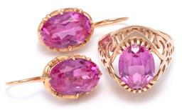 Sale 9156J - Lot 337 - A 14CT GOLD STONE SET RING AND EARRINGS SUITE; each set with oval cut synthetic pink sapphire, ring with scroll carved gallery shoul...