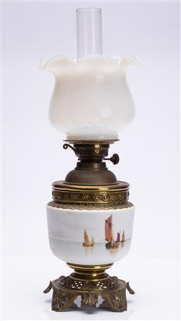 Sale 9185E - Lot 5 - A brass bound kerosene lantern with ships themed glass midsection and milky glass shade, total Height 60cm
