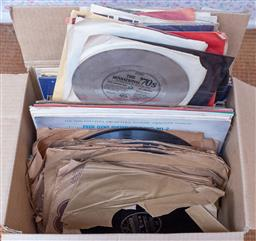 Sale 9191W - Lot 703 - A box of music ephemera including LPs and magazines